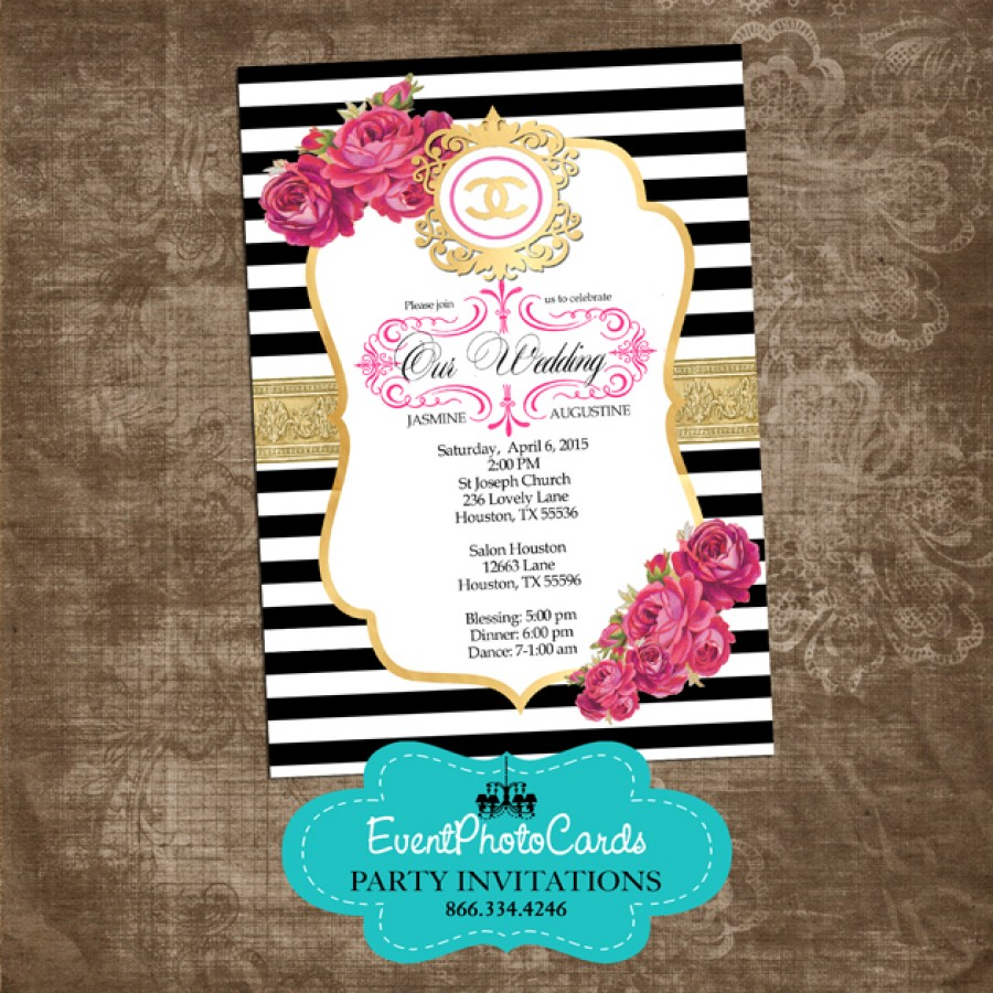 Coco Chanel Gold Wedding Invitations, Fashion Couture
