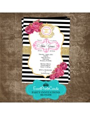 Coco Chanel Gold Quinceanera Invites  Inspired Not actual