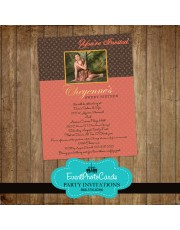 Loui Vitton Inspired Coral & Brown Invitations