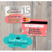 Bling Coral Sweet 15 - Quinceanera Invitations Credit Card