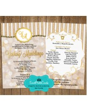 Kraft  Paper Gold and Silver  Quinceanera Invitations