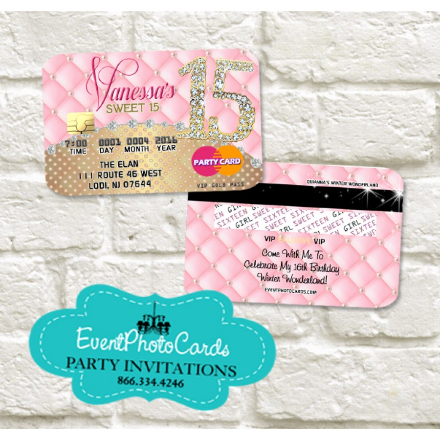 Credit Card Quinceanera Invitations Sweet 16th Invitations Wedding