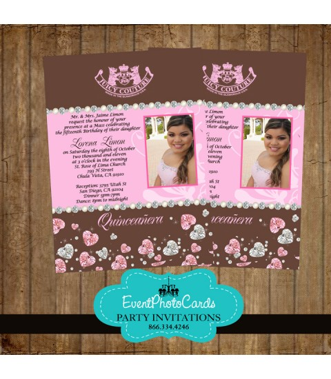 Juicy Couture Inspired - XV Invites Pink and Brown