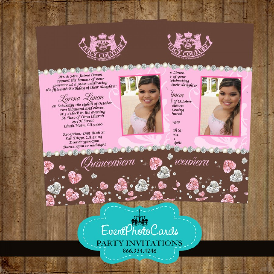 juicy couture inspired xv invites pink and brown