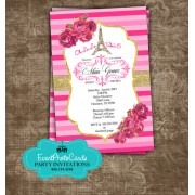 Pink Gold Paris Quinceanera Invites