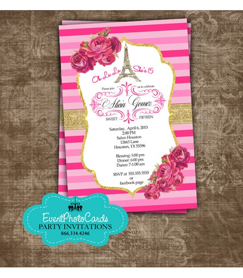 Pink Gold Paris Quinceanera Invites, Fashion Couture Sweet Fifteen