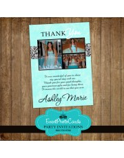 Tiffany Damask Photo Thank you Card