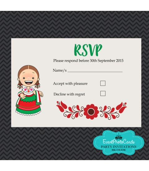 Charro Mexican Quinceanera Red & Green Matching RSVP