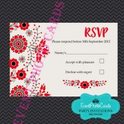 Mexican Embroidered  RSVP - Red