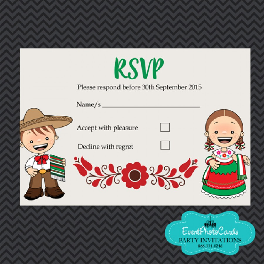 Mariachi Wedding Invitations - Red Green - Matching Reservation Card