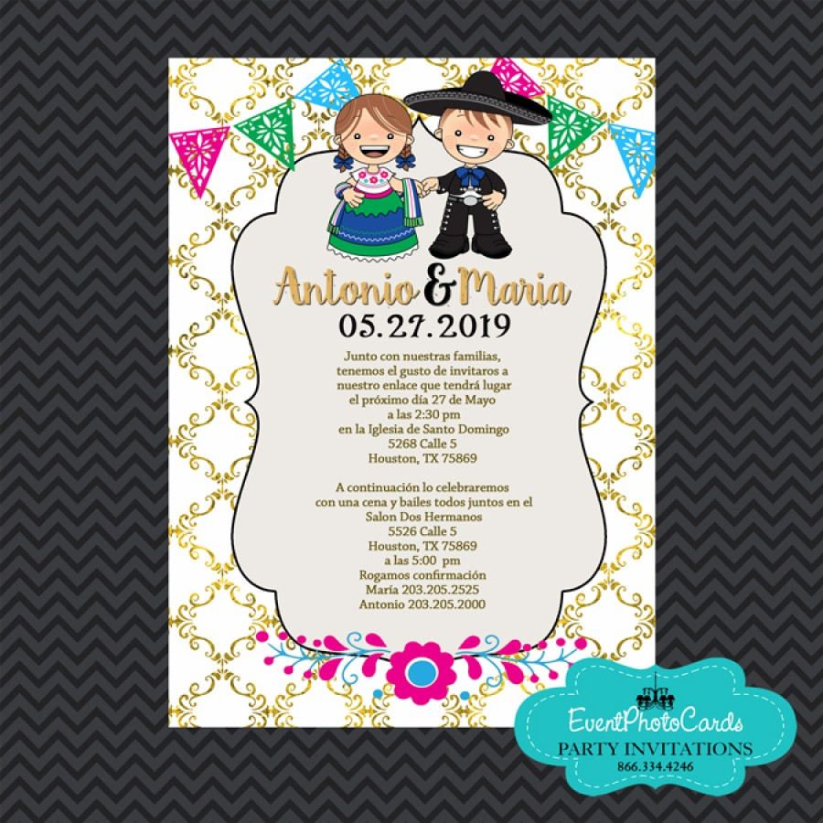 mariachi wedding invitations, vaquero wedding invitations, Wedding invitations