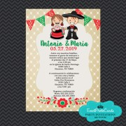 Mariachi Wedding Invitations - Red Green