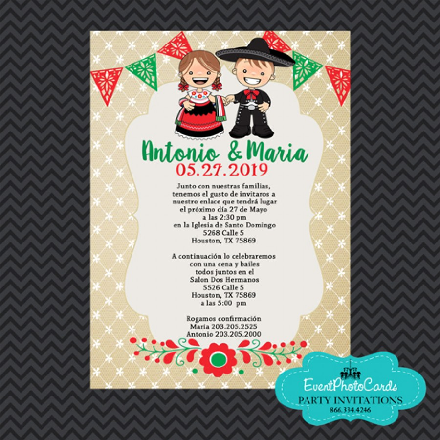 Mariachi Wedding Invitations - Red Green , mexican wedding Announcements