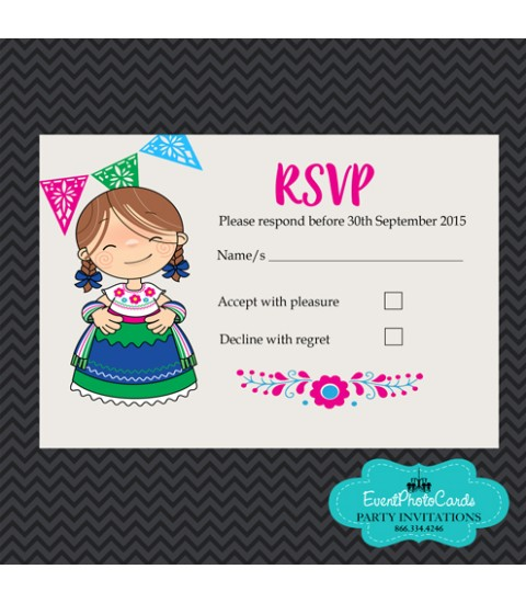Charro Mexican Quinceanera Pink & Blue Matching RSVP