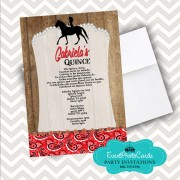 Rustic Cowgirl Quinceanera Invitations - Red