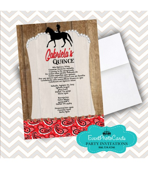 Red Floral Cowgirl  Western Invitations, Quinceanera Invitations , Sweet 15th Announcements