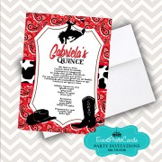 Red Bandanna Quinceanera Invite