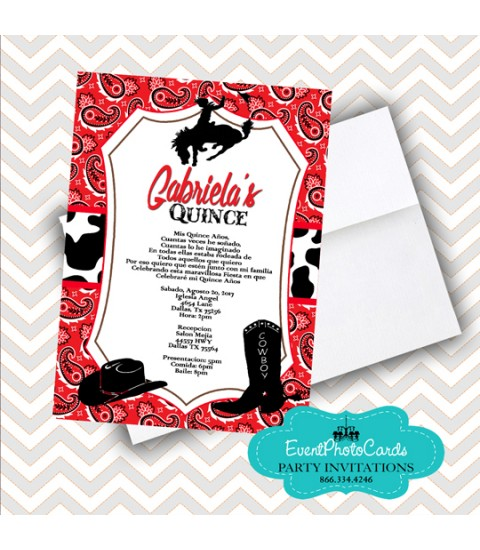 Red Bandanna Cowgirl Western  , Quinceanera Invitations , Sweet 15th Announcements