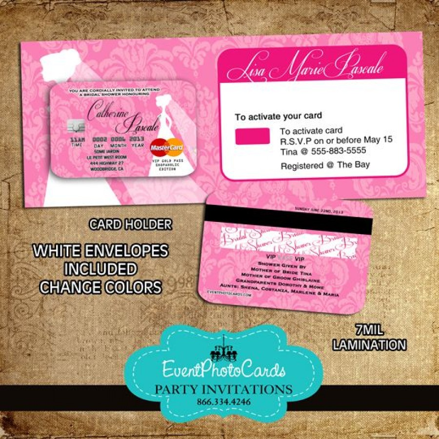 wedding pink credit card with holder On wedding credit card