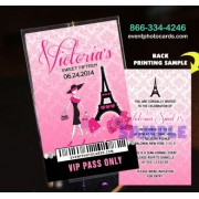 Vip Pass Eiffel Tower Invitations - Paris Theme