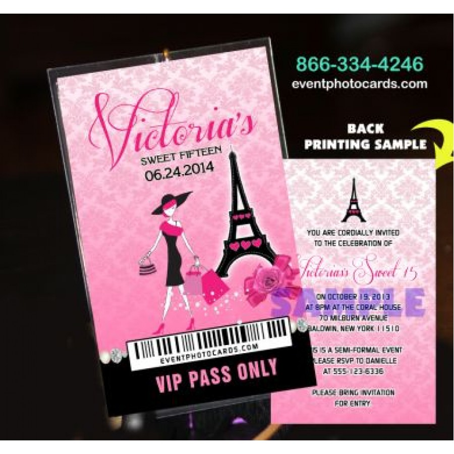 Paris Eiffel Tower Pink Vip Pass Backstage Invitations