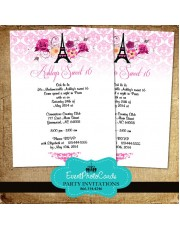 Paris Themed Quinceanera Invitations - Eiffel Tower