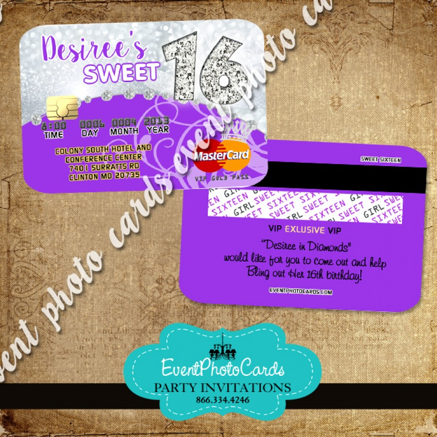 Silver Purple Sweet 16 Invitations Glitter Credit Card – Sweet 16 Invitation Card