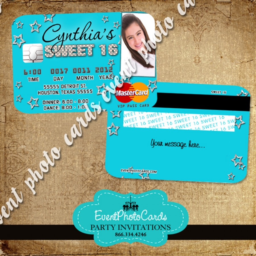 aqua stars quinceanera invitations