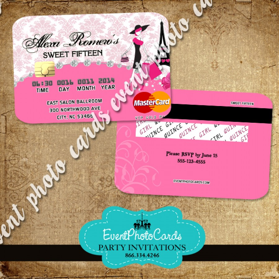 paris credit card invitations pink
