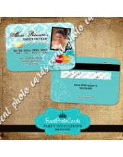 Paris Credit Card Photo Invitations - Teal