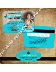 Turquoise Butterfly Invitations -Credit Card Style