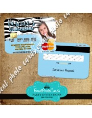 Zebra Blue Quinceanera Invitations- Credit Card