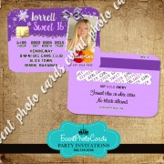 Purple Winter Wonderland Sweet 16 Invitations - Credit Card