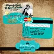Sea Beach Wedding Invites  - Credit Card