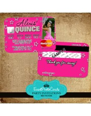Pink Stars Quinceanera Invitations - Credit Card