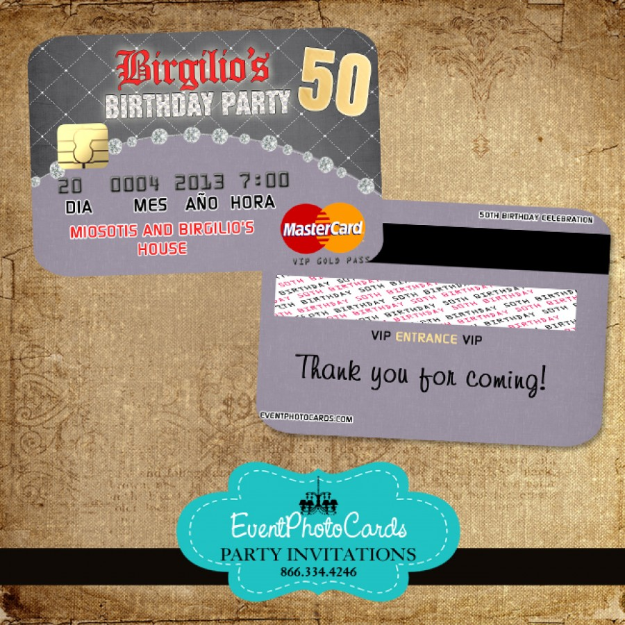 50 Birthday Party Invitations - Credit Card