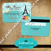 Paris Credit Card  - Teal B Quinceanera