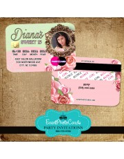 Floral Roses Quinceanera Invitations -Credit Card