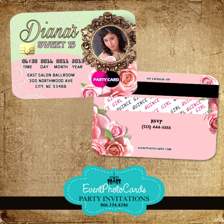 floral roses quinceanera invitations credit card invitaciones de