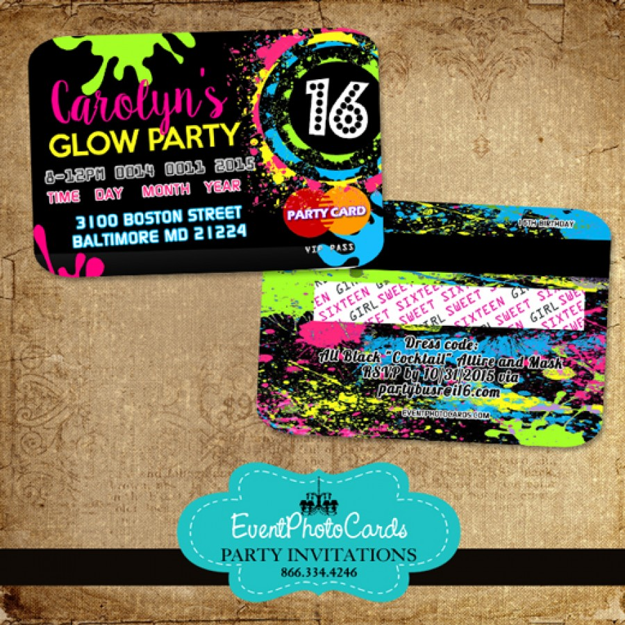 Glow Party Sweet 16 - Credit Card Style Invitations, Neon Invites