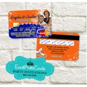 Wedding  - Credit Card Orange and Blue Invitations