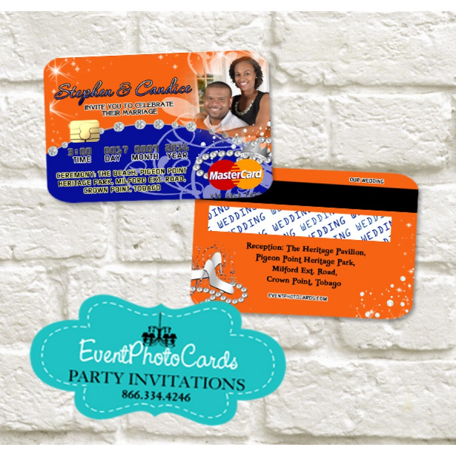 Wedding Credit Card Orange And Blue Invitations