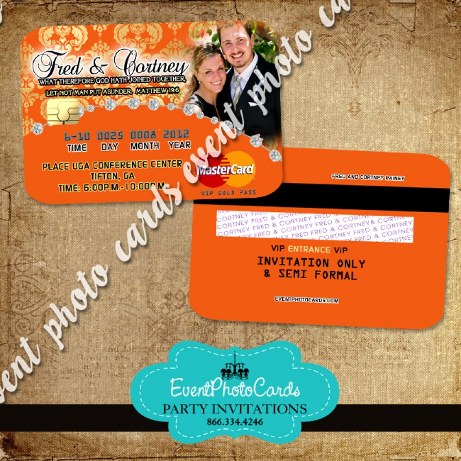Orange Gold Wedding Party Card Invitations Announcements Rehearsal Dinner Invites