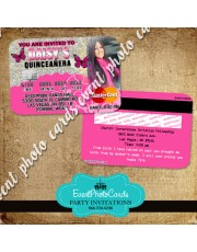 Pink Butterfly -Credit Card Quinceanera