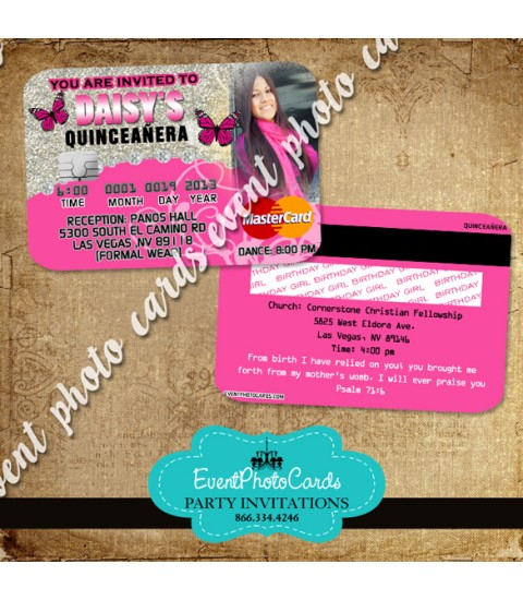 Pink Butterfly Quinceanera Invitations - Credit Card