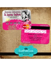 Pink Butterfly Wedding Invitations - Credit Card Style