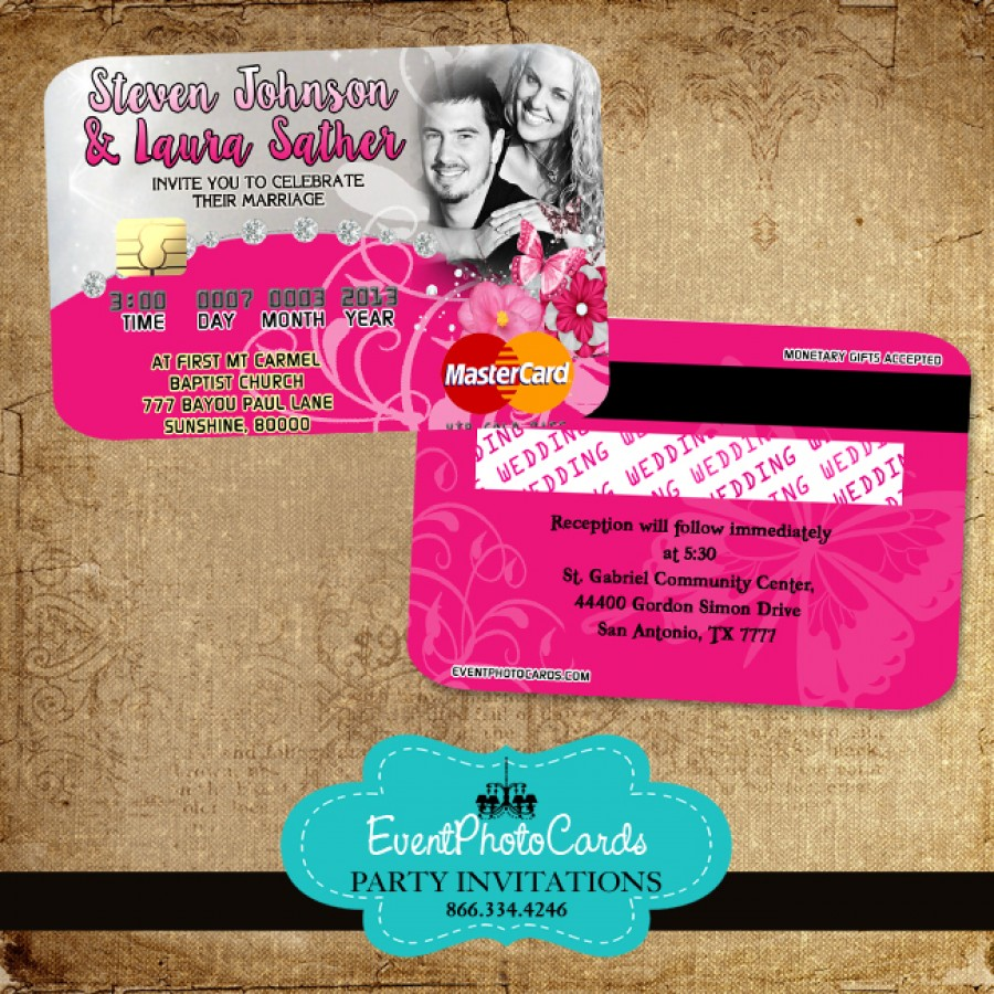 Pink Butterfly Wedding Invitations - Credit Card