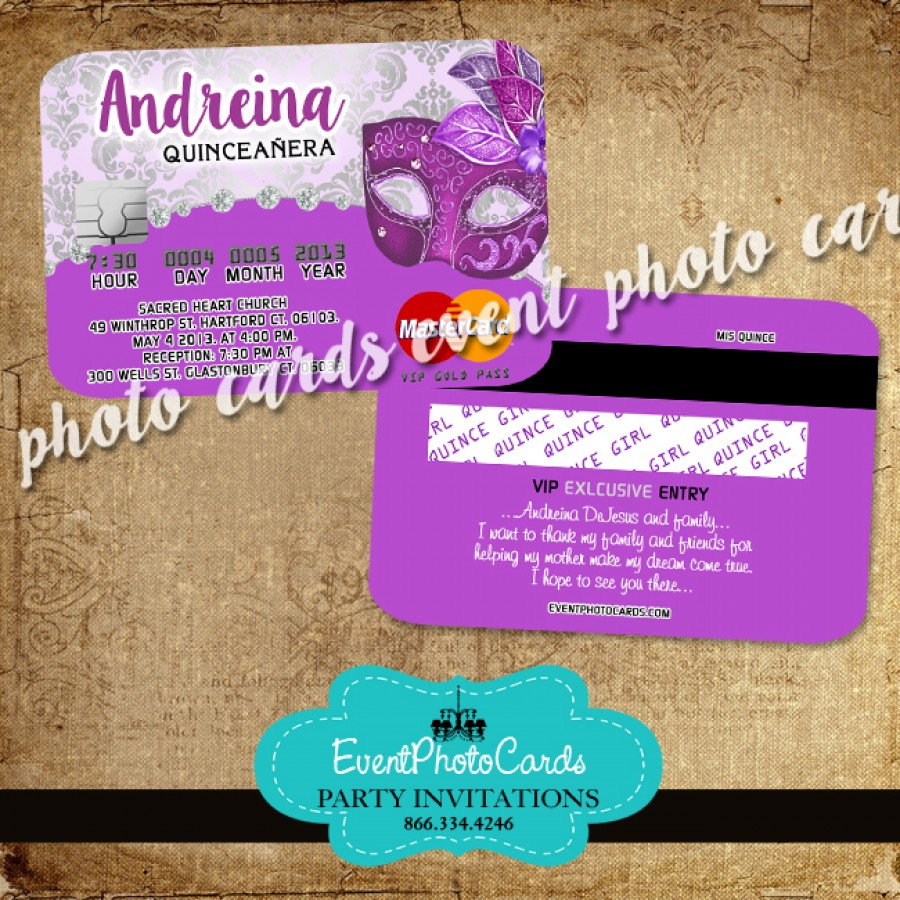 Purple Masquerade Birthday - Credit Card Invitations ...
