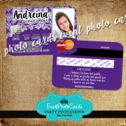 Purple & Silver Masquerade Quinceanera Invitations - Credit Card