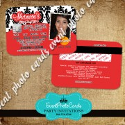 Red  & Damask Party Card Invitations